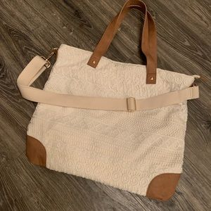 Large Ivory/Lace Tote